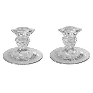 2 Vintage Crystal Taper Candlestick Candle Holders